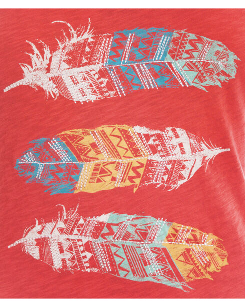 Panhandle Slim Women's Colorful Feather Graphic Tee , Red, hi-res