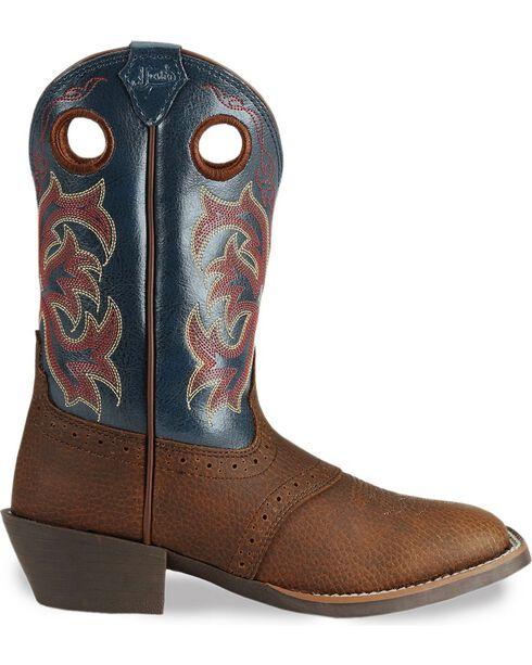 Justin Kid's Stampede Western Boots, Dark Brown, hi-res