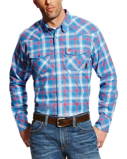 Ariat Men's FR Manning Retro Long Sleeve Plaid Shirt, Blue, hi-res