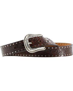 Ariat Women's Western Emboss Leather Belt, Brown, hi-res
