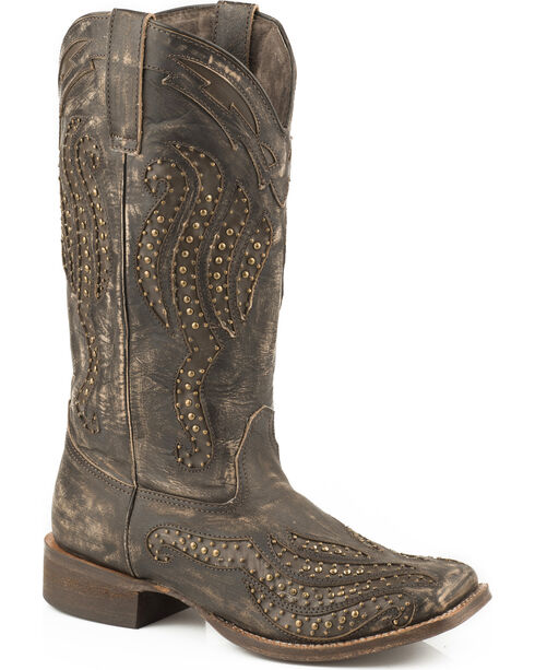 Roper Brown Vintage Studded Cowgirl Boots - Square Toe, , hi-res