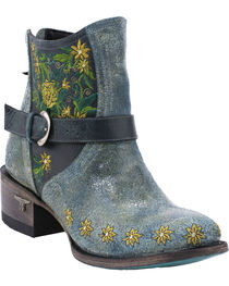 Lane Women's Boho Love Denim Western Booties, Turquoise, hi-res