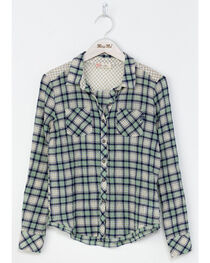 Miss Me Girls' Green Coastal Cool Plaid Shirt , , hi-res