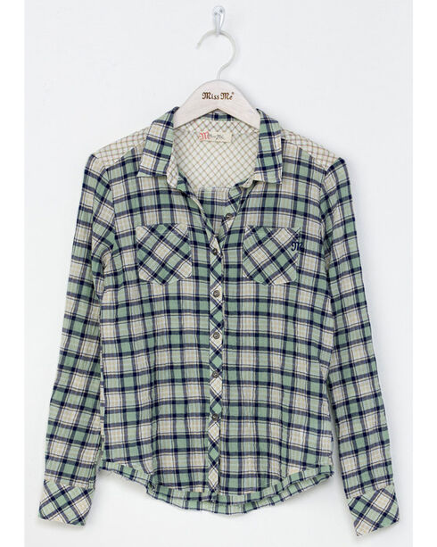 Miss Me Girls' Green Coastal Cool Plaid Shirt , Green, hi-res