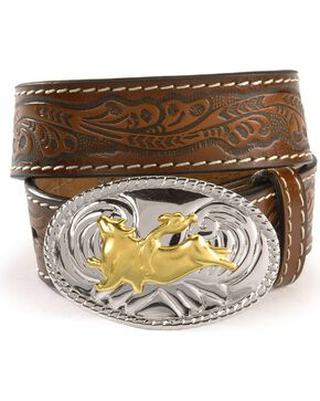 Nocona Boys' Bull Rider Tooled Belt, Brown, hi-res