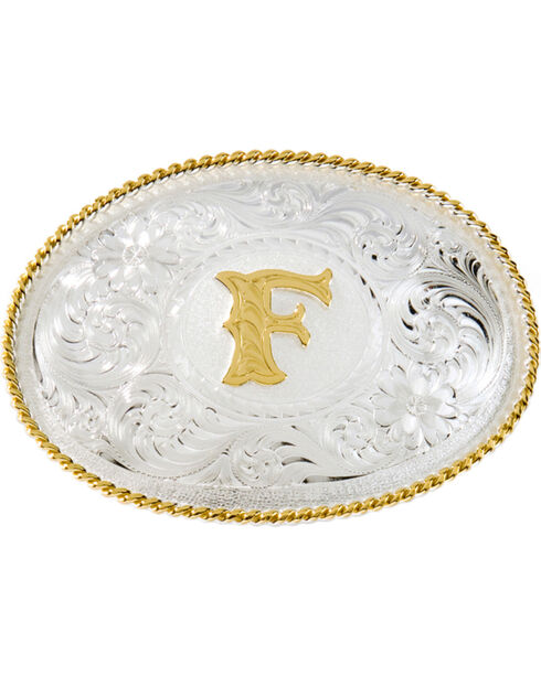"""Montana Silversmiths Initial """"F"""" Buckle, Silver, hi-res"""