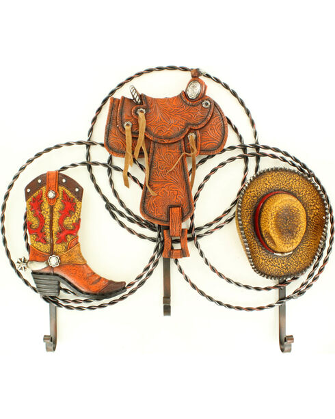 Western Moments Resin Metal Boot, Saddle, and Hat Hooks, Brown, hi-res