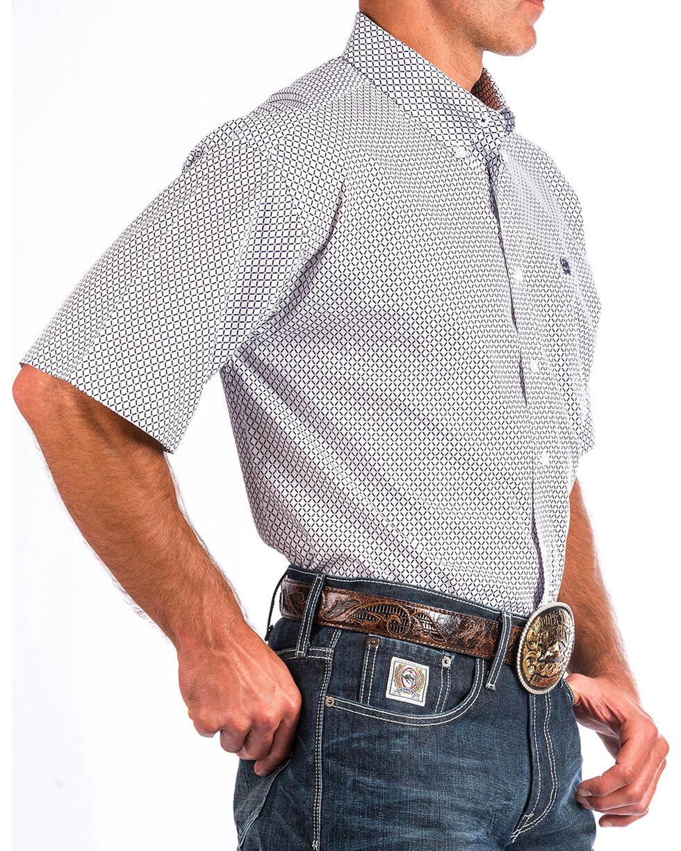 Cinch Men's White Print Short Sleeve Button Down Shirt, White, hi-res