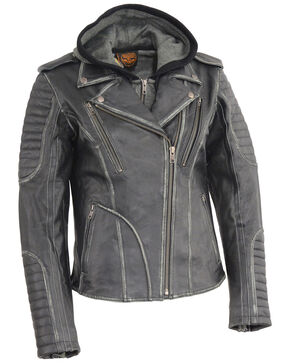 Milwaukee Leather Women's Rub-Off Hoodie Motorcycle Jacket - 5X, Black, hi-res