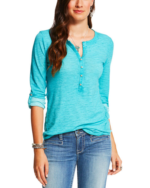 Ariat Women's Caitlin Long Sleeve Henley, Turquoise, hi-res