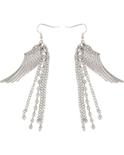 Shyanne® Women's Dangle Wing Earrings, Silver, hi-res