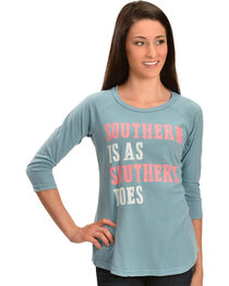 "ATX Mafia Blue ""Southern Is As Southern Does"" Baseball Tee, , hi-res"