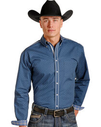 Rough Stock Men's Navy White Patterned Western Shirt , , hi-res