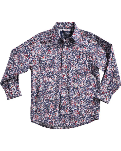 Rough Stock by Panhandle Boys' Blue Paisley Print Mckinley Shirt , Blue, hi-res