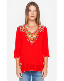 Johnny Was Women's Red Mary Ann Blouse, , hi-res