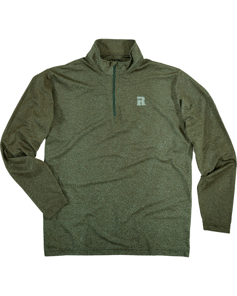 Wrangler Men's Olive Riggs Workwear 1/4 Zip Pullover - Big & Tall , Olive, hi-res