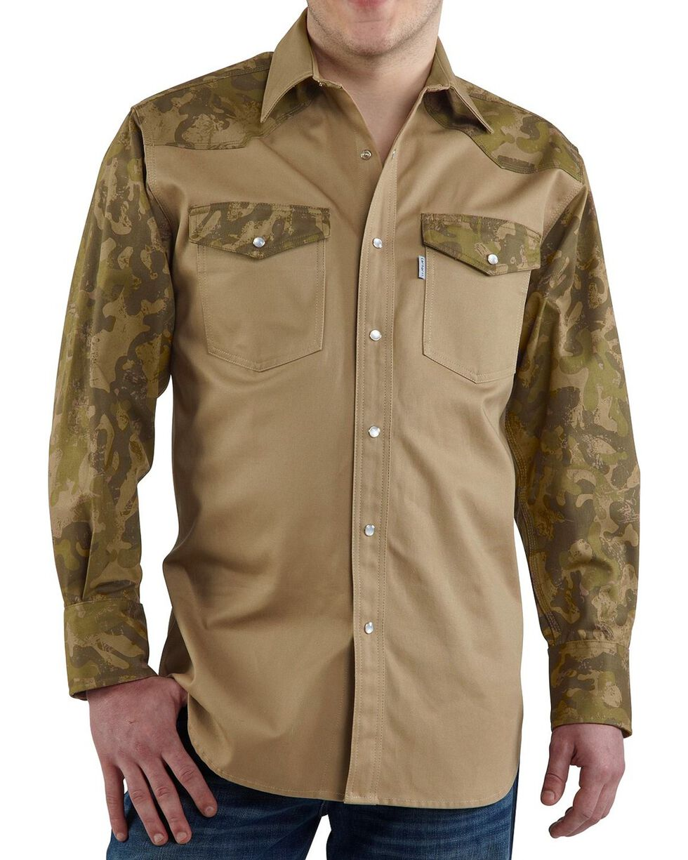 Carhartt Solid Cotton Twill Long Sleeve Work Shirt - Big & Tall, Khaki Camo, hi-res