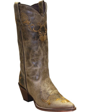 "Rawhide Women's 13"" Embroidered Western Boots, Tan, hi-res"