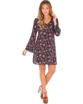 Wrangler Women's V-Neck Floral Long Sleeve Dress, Black, hi-res