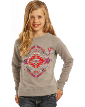 Rock & Roll Cowgirl Girls' Diamond Aztec Sweatshirt, Sand, hi-res