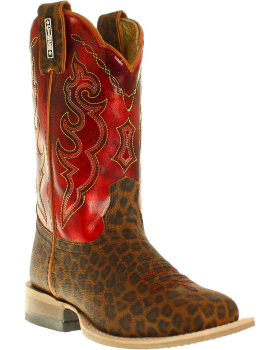 Cinch Girls' Leopard Print Western Boots, Tan, hi-res