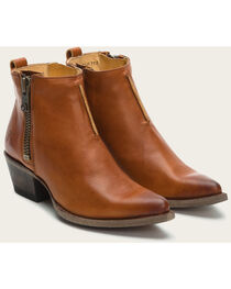 Frye Women's Cognac Sacha Moto Shortie Boots - Pointed Toe , , hi-res