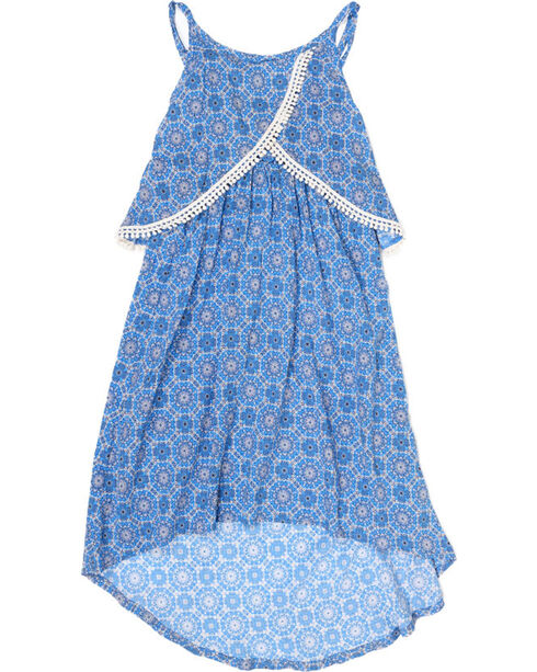 Shyanne® Girls' High-Low Crochet Lace Dress, Blue, hi-res