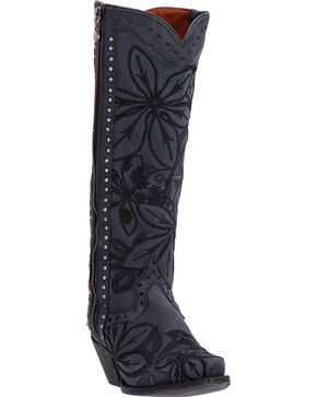 Dan Post Women's Floral Embroidered Tall Western Boots, Black, hi-res