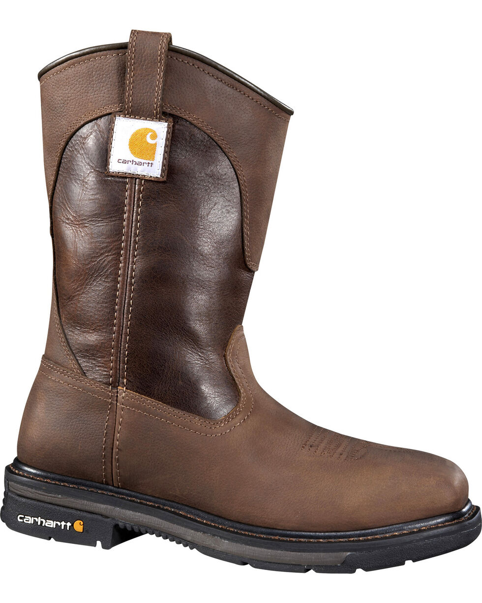 Carhartt Men's Wellington Work Boots - Safety Toe, Brown, hi-res