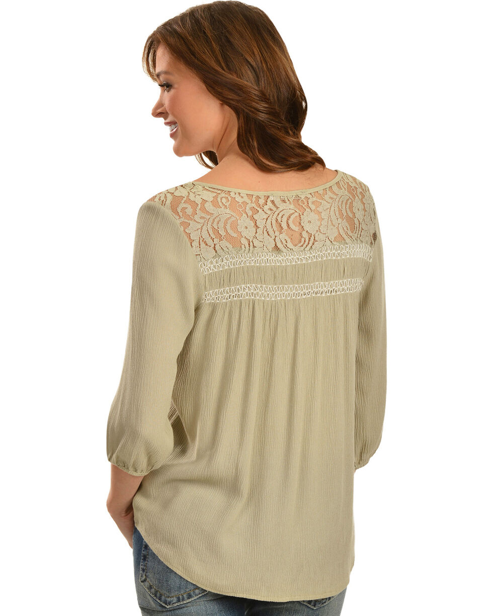 Miss Me Lace Embellished Crepe Top, Olive, hi-res