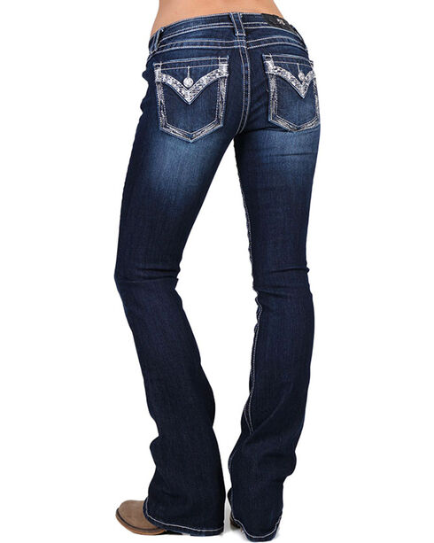 Miss Me Women's Pearl and Sequins Boot Cut Jeans, Blue, hi-res