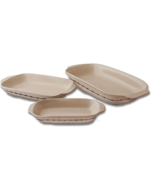 Moss Brothers 3-Piece Barbwire Baking Dish Set , Ivory, hi-res