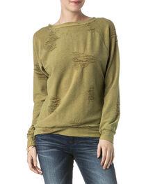 Miss Me Women's Olive Destructed Sweatshirt , , hi-res