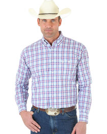 Wrangler George Strait One Pocket Ombre White, Rose and Blue Plaid Twill Shirt - Tall, , hi-res