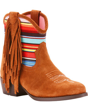 Ariat Girls' Duchess Serape Fringe Short Cowgirl Boots - Round Toe, Brown, hi-res