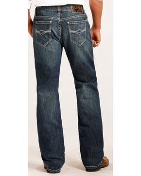 Rock & Roll Cowboy Men's Abstract Embroidery Reflex Double Barrel Jeans -  Boot Cut , Indigo, hi-res