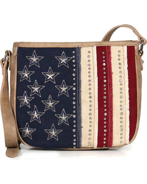 Shyanne® Women's Denim Americana Crossbody Bag, Khaki, hi-res