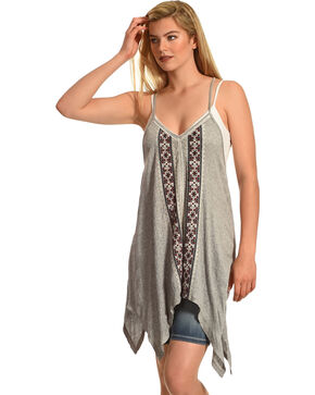 Shyanne® Women's Crochet Lace Flowing Tank Top, Heather Grey, hi-res