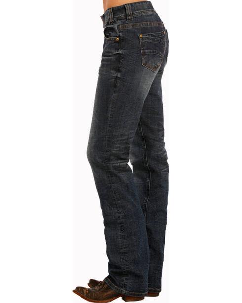 Rock & Roll Cowgirl Women's Dark Wash Boyfriend Jeans- Boot Cut , Blue, hi-res