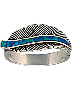 """Montana Silversmiths """"The Storyteller"""" Feather Ring, Antique Silver, hi-res"""