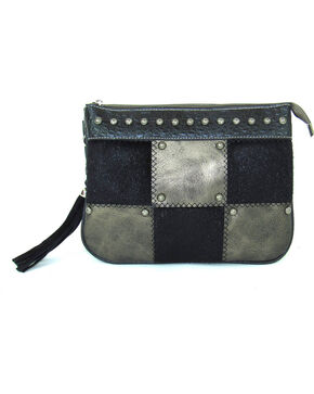 Savana Women's Patchwork Handbag, Grey, hi-res