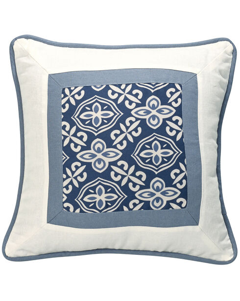 HiEnd Accents Multi Monterrey Blue and White Printed Throw Pillow, Multi, hi-res