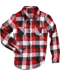 Derek Heart Girls' Red Tab Sleeves Plaid Flannel Shirt, , hi-res