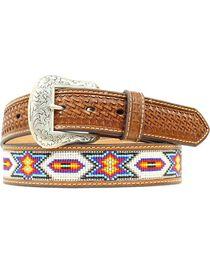 Nocona Beaded Inlay Leather Belt, , hi-res