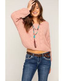 Shyanne Women's Blush Chenille Cropped Cable Sweater, , hi-res