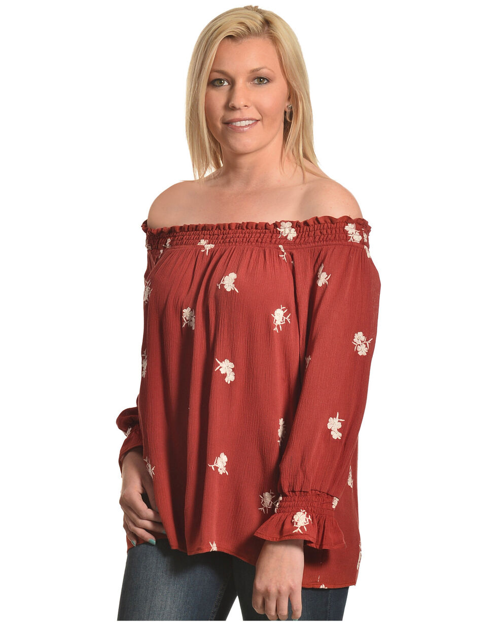 Luna Chix Women's Floral Embroidered Off The Shoulder Top, Rust Copper, hi-res