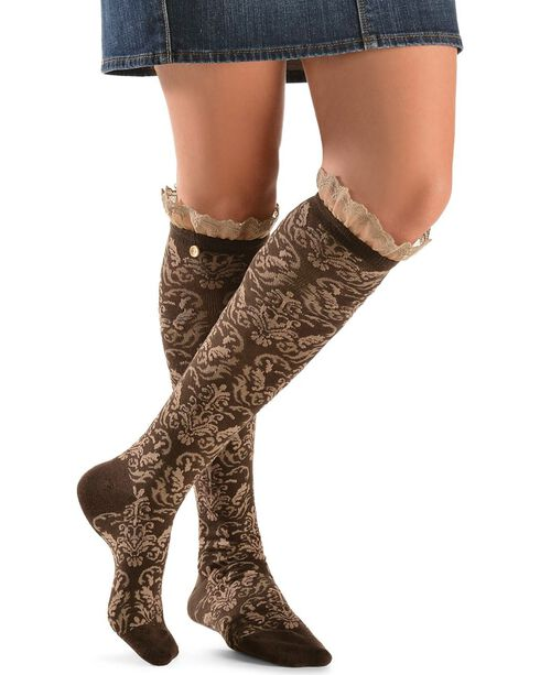 Blazin Roxx Two-Tone Floral Embroiderd with Lace Knee-High Socks, Brown, hi-res