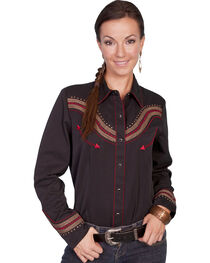 Scully Fancy Embroidered Yoke Long Sleeve Top, , hi-res