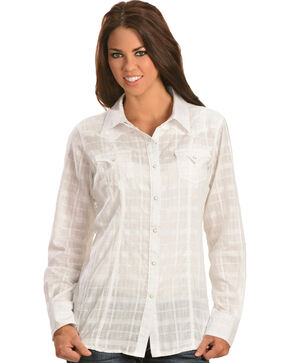 Ariat Women's Tetonia Long Sleeve Western Shirt, White, hi-res