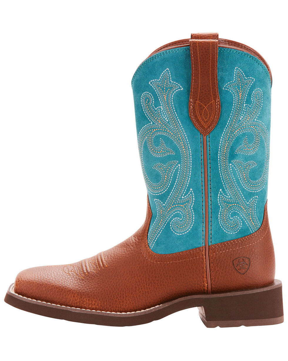 Ariat Women's Leather & Suede Western Boots - Square Toe, Brown, hi-res
